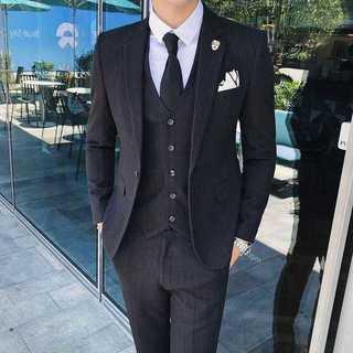 メンズスーツセットアップ秋冬人気エリート細身ビジネス髪型師スリム紳士服OT037(セットアップ)
