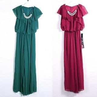 2連パールネックレス&ベルト付  シフォン オールインワン パンツドレス ドレス(オールインワン)