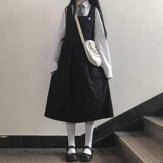 ジャンパースカートシャツ2点セットレディース秋ロリータMz199(ひざ丈ワンピース)