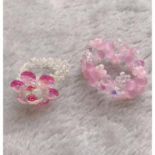ピンクビーズリング 2つセット(リング(指輪))