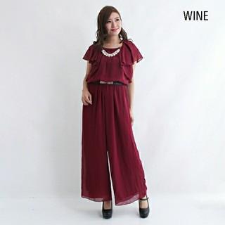 2連パールネックレス&ベルト付  シフォン オールインワン パンツドレス ドレス(ロングドレス)