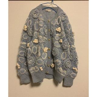 used アイスブルー♡お花モチーフ♡刺繍デザイン♡ポンポンニットカーディガン(カーディガン)