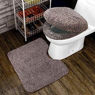 3点セット トイレ 便座カバー U型O型トイレ兼用フタカバー コーヒー カバー