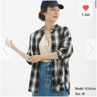 ジーユー(GU)の新品 GU オーバーサイズチェックシャツ XS ブラック(シャツ/ブラウス(長袖/七分))