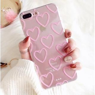 【新品】iPhoneXSMAXカバー ハート柄 ピンク