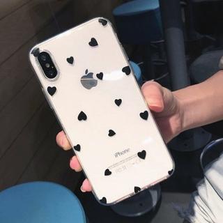 【新品】iPhoneXRカバー ハート柄 ブラック