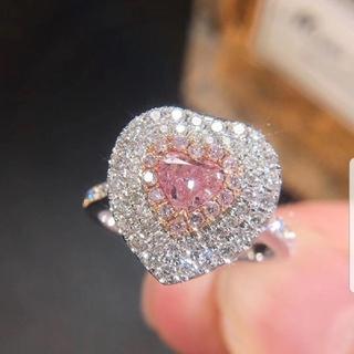 GIA♡ハートシェイプF.Pink.B.ダイヤモンドリング(リング(指輪))