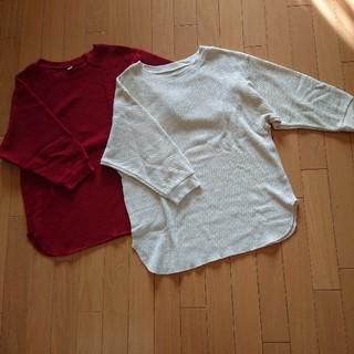 ユニクロ(UNIQLO)のユニクロUNIQLOワッフルT 赤+白sizeL(カットソー(長袖/七分))