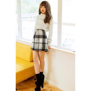 グレイル(GRL)のシャギーチェック台形スカート   S(ミニスカート)