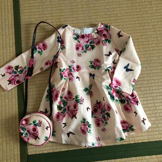 3歳サイズ 長袖ワンピース&バッグ2点セット 花柄 ピンク(ワンピース)