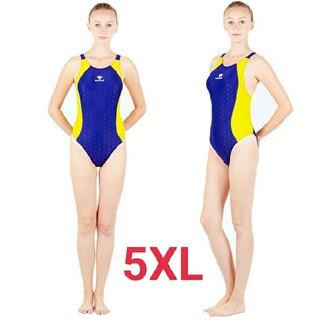5XL SWIMHXBY レディース 競泳水着  ハイレグ ウロコ柄 イエロー(水着)