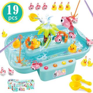 魚釣りゲーム フィッシング 釣りおもちゃ 水遊び 電動 流れる水 プール お風呂(知育玩具)