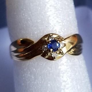 ブルーサファイア、ダイヤリング 18金(リング(指輪))