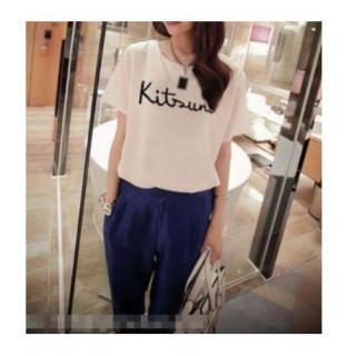 Tシャツ 半袖 レディース 夏ファッション 白 プリント文字 Lサイズ ホワイト(カットソー(半袖/袖なし))