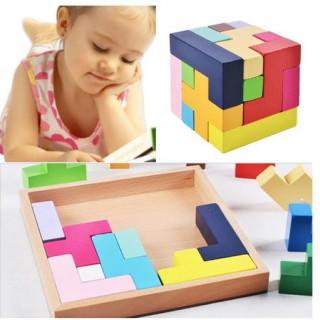 木製知育玩具 形合わせ パズル 立体 テトリス ブロック 木製おもちゃ 玩具 小(知育玩具)
