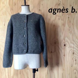 アニエスベー(agnes b.)のagnes b. ノーカラー ショート ジャケット フロント ボタン(ノーカラージャケット)