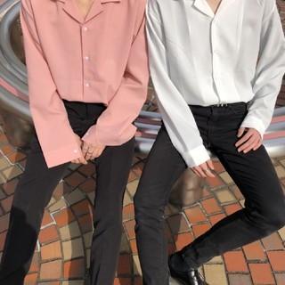韓国系 オープンカラーシャツ ピンク ホワイト ベージュ(シャツ/ブラウス(長袖/七分))