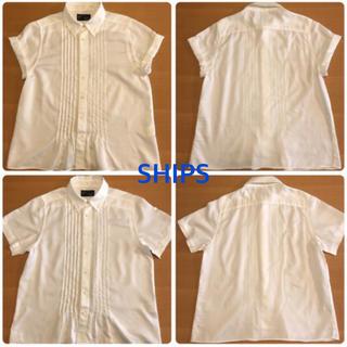 シップス(SHIPS)のSHIPS シップス Travail Manuel 白コットンピンタックシャツ(シャツ/ブラウス(半袖/袖なし))