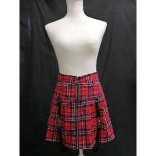 フリーサイズ チェックスカート ゴシックスカート 赤(ミニスカート)