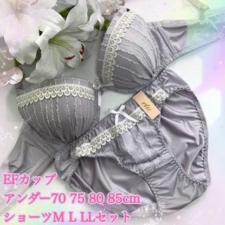 E80LL♡マカロングレー♪ブラ&ショーツ 大きいサイズ 女装(ブラ&ショーツセット)
