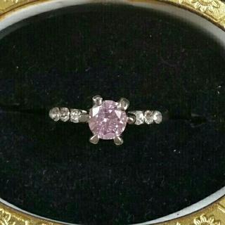 ◆14◆一粒淡いピンクカラーのリング(リング(指輪))