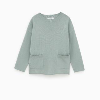 ザラキッズ(ZARA KIDS)の美品 ザラ zara ザラキッズ ニット ポケット付きベーシックセーター(ニット/セーター)