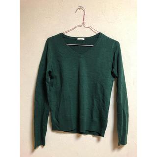 ジーユー(GU)のGU グリーンVネックセーター(ニット/セーター)