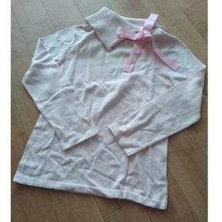 ミツミネ(Mitsumine)のmitsumine ピンクの長袖ニット リボン付き(ニット/セーター)