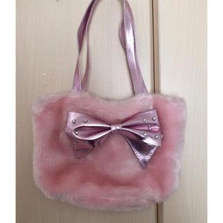 マザウェイズ(motherways)のマザウェイズ キラキラリボンふわふわファーバッグ ピンク クリスマスのお出かけに(トートバッグ)