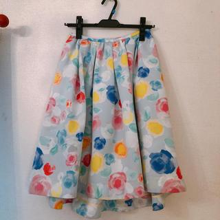 チェスティ(Chesty)のchestyチェスティ花柄スカート ブルー 0サイズ(ひざ丈スカート)