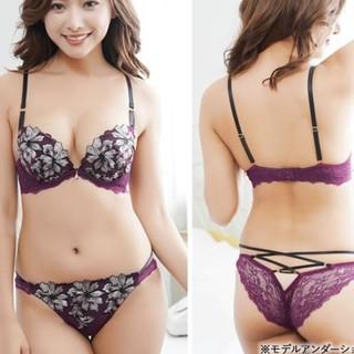新品!EFありシックな花刺繍ブラジャーセクシーレースアップショーツセット(ブラ&ショーツセット)
