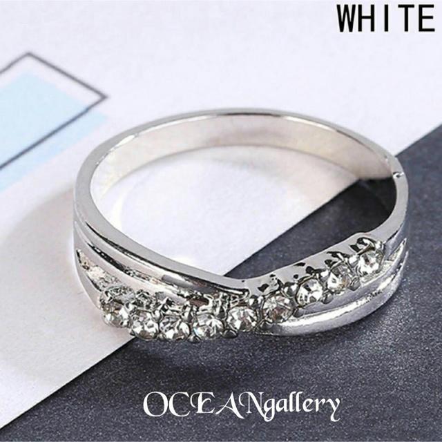 送料無料 17号 シルバークリアスーパーCZダイヤ インフィニティ リング指輪 レディースのアクセサリー(リング(指輪))の商品写真