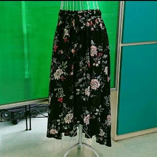 [美品] トレンド♪しっとり流れるライン 大人の 花柄 ロング スカート(ロングスカート)