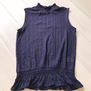 ジーユー(GU)のGU ジーユー ノースリーブ トップス 紺(シャツ/ブラウス(半袖/袖なし))