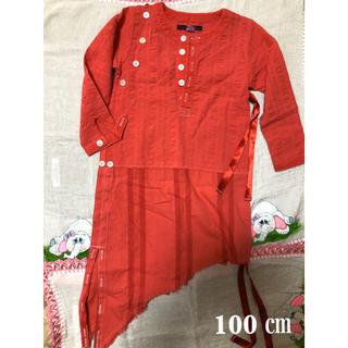 ナチュラルブー(Natural Boo)のナチュラルブー 美品 長袖 シャツ ワンピース 赤 ピンク(ワンピース)
