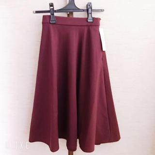 ジーユー(GU)の【XSサイズ】GU ボンチフレアスカート ワインレッド(ひざ丈スカート)