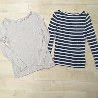 ギャップ(GAP)のGAPボーダーとラメ入りベージュの長袖カットソー ロングTシャツ2枚セット(Tシャツ(長袖/七分))