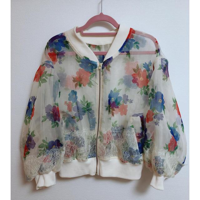 one after another NICE CLAUP(ワンアフターアナザーナイスクラップ)のオーガンジー花柄ブルゾン レディースのジャケット/アウター(ブルゾン)の商品写真