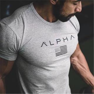 ALPHA  Tシャツ グレー(Tシャツ/カットソー(半袖/袖なし))