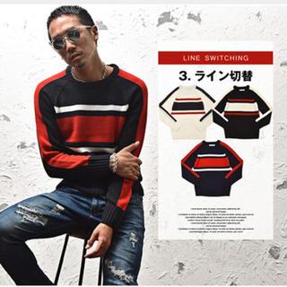 ロンハーマン(Ron Herman)のライン切替クルーネックニット/メンズ トップス 長袖 ニット セーター(ニット/セーター)