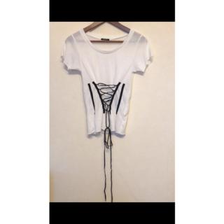 エモダ(EMODA)のEMODA エモダ モノトーン レースアップTシャツ S ホワイト 良品(Tシャツ(半袖/袖なし))