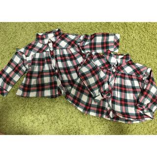 GAP - 2枚セット!双子用 babyGAP 秋冬チェックシャツ 80フリル付
