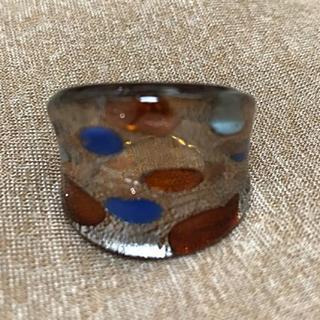 ガラス リング 指輪③水玉 ドット ブラウン ブルー 青(リング(指輪))