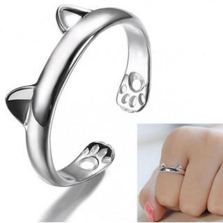 新品♪カワイイ 猫 ネコ耳 肉球 シルバー リング フリー サイズ(リング(指輪))