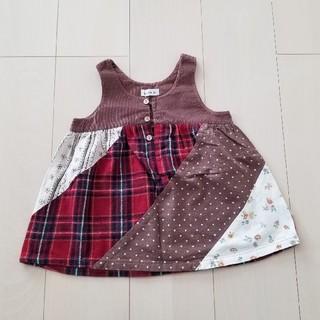 ビケット(Biquette)の【美品】《ビケット》ジャンパースカート ワンピース 赤 チェック 90(ワンピース)