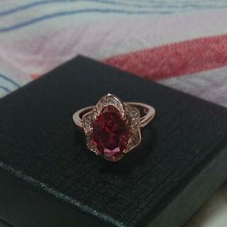 手元に花が咲く!!ピンクゴールド&レッドダイヤモンドリング(リング(指輪))