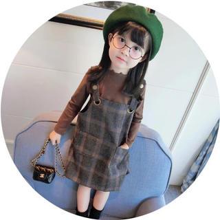 秋冬トレンド子供ファッション♡可愛い茶長袖Tシャツ+ギンガムチェックワンピ120(ワンピース)
