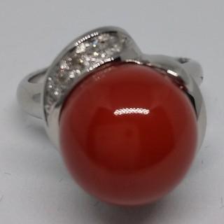 希少最高級血赤珊瑚ダイアモンドリング(リング(指輪))