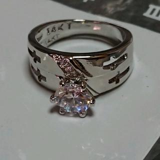 12号 14KTキュービックホワイトクロスリング(リング(指輪))