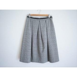 クチュールブローチ グレン チェック タック スカート40黒(ひざ丈スカート)